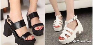 Kalın Bantlı Sandalet Modası