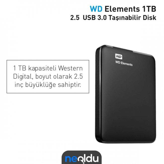 WD Elements 1TB 2.5 USB 3.0 Taşınabilir Disk