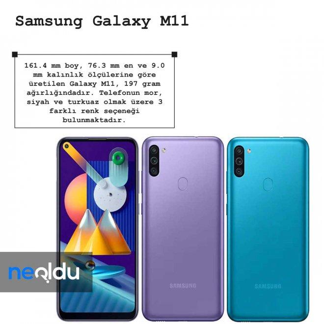 Samsung Galaxy M11 boyutu