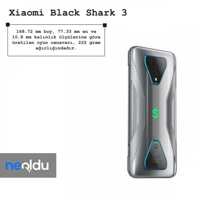 Xiaomi Black Shark 3 boyut bilgileri