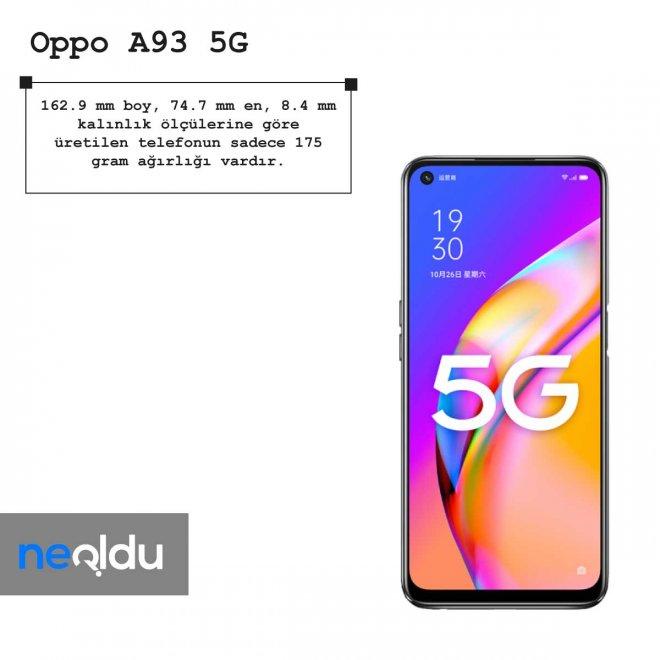 Oppo A93 5G boyut bilgileri