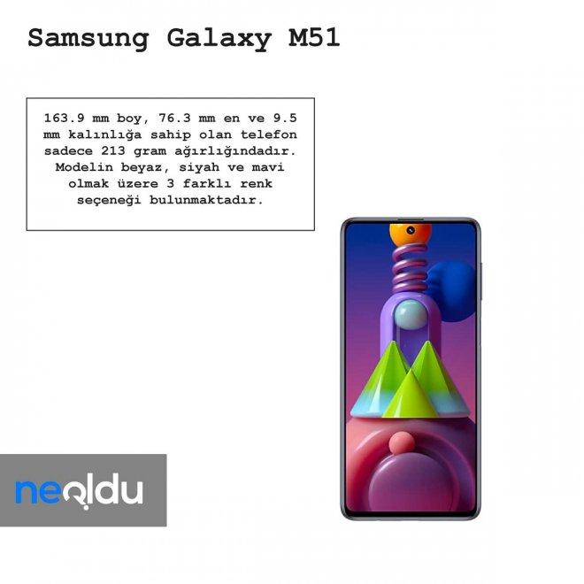 Samsung Galaxy M51 tasarımı