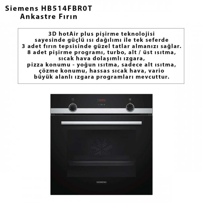 Siemens HB514FBR0T Ankastre Fırın