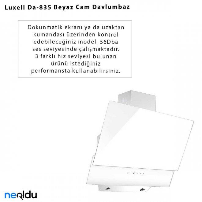 Luxell Da-835 Beyaz Cam Davlumbaz