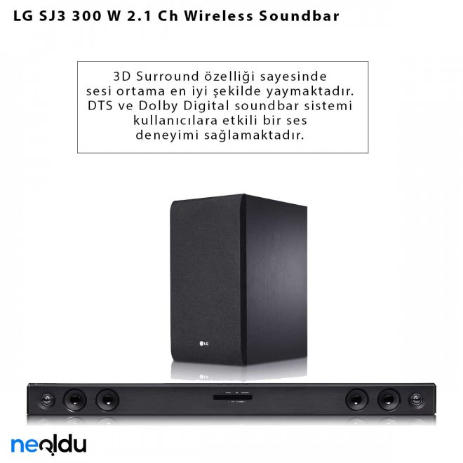 LG SJ3 300 W 2.1 Ch Wireless Soundbar