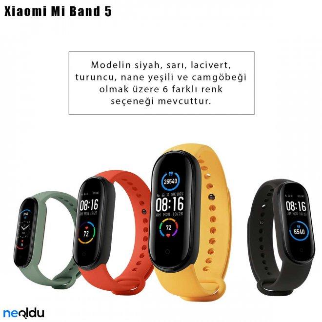 Xiaomi Mi Band 5 renk seçenekleri