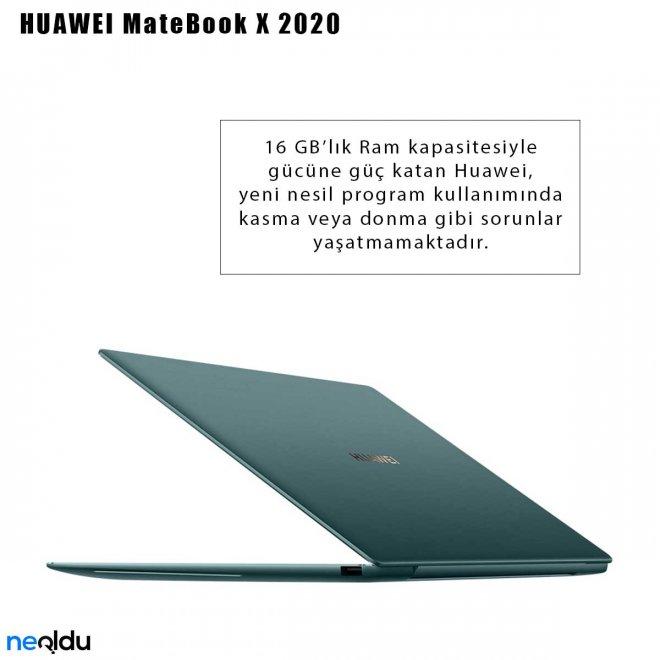 Huawei MateBook X 2020 Ram kapasitesi