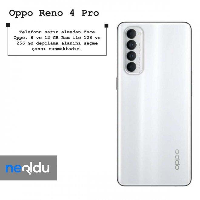 Oppo Reno 4 Pro ram seçenekleri