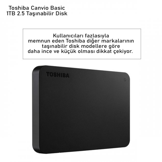 Toshiba Canvio Basic 1TB 2.5 Taşınabilir Disk