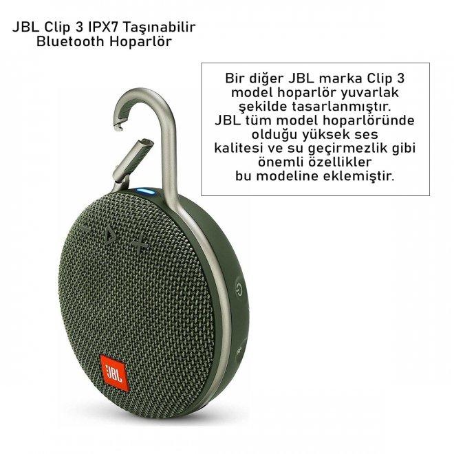 JBL Clip 3 IPX7 Taşınabilir Bluetooth Hoparlör