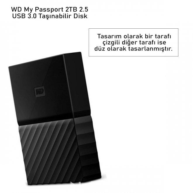 WD My Passport 2TB 2.5 USB 3.0 Taşınabilir Disk