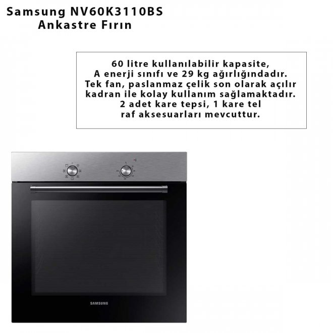 Samsung NV60K3110BS Ankastre Fırın