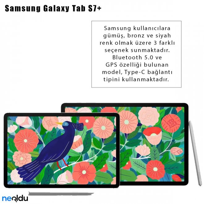 Samsung Galaxy Tab S7+ renk seçenekleri
