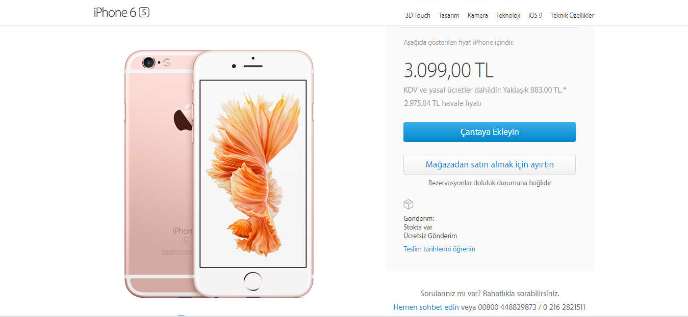 iPhone 6S 16 GB Fiyat
