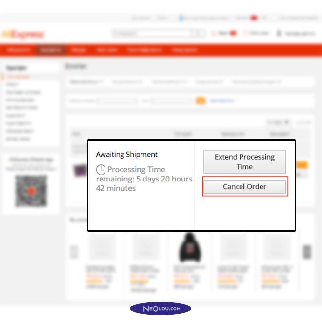 Aliexpress Sipariş İptali