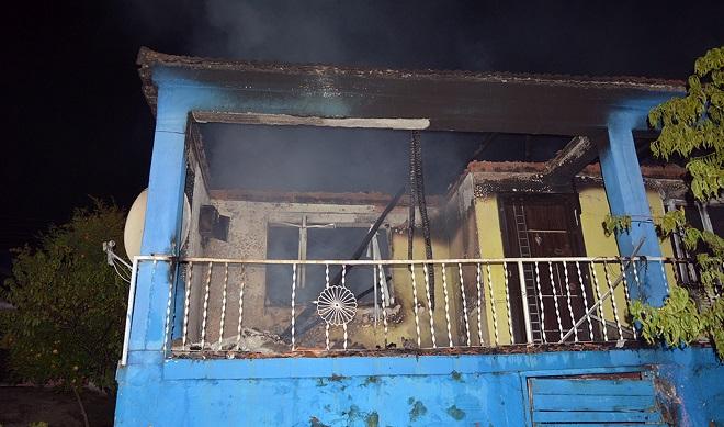 cinayet zanlısı yakılan ev