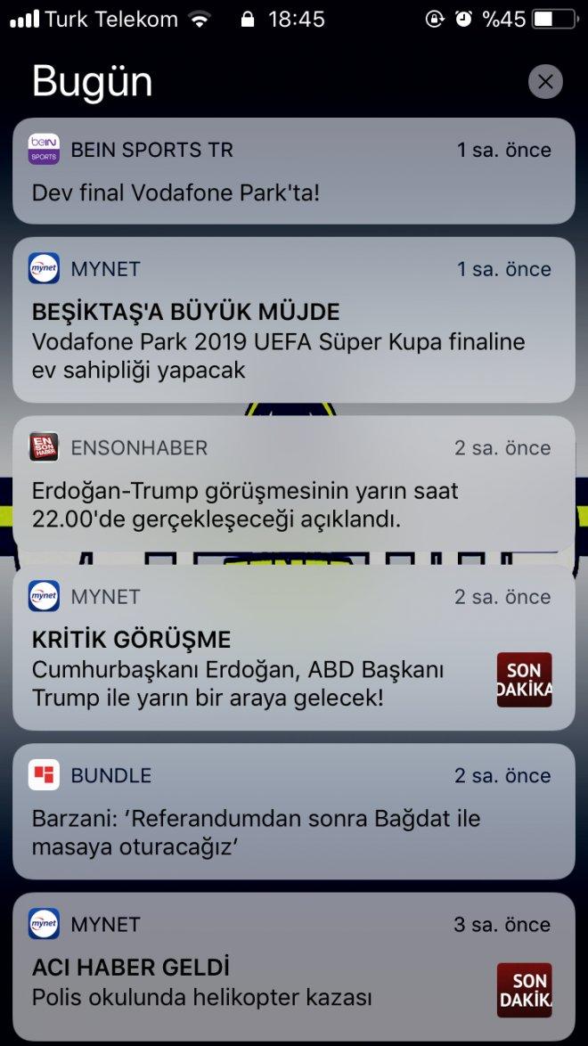 iphone ios11 bildirim ekranı