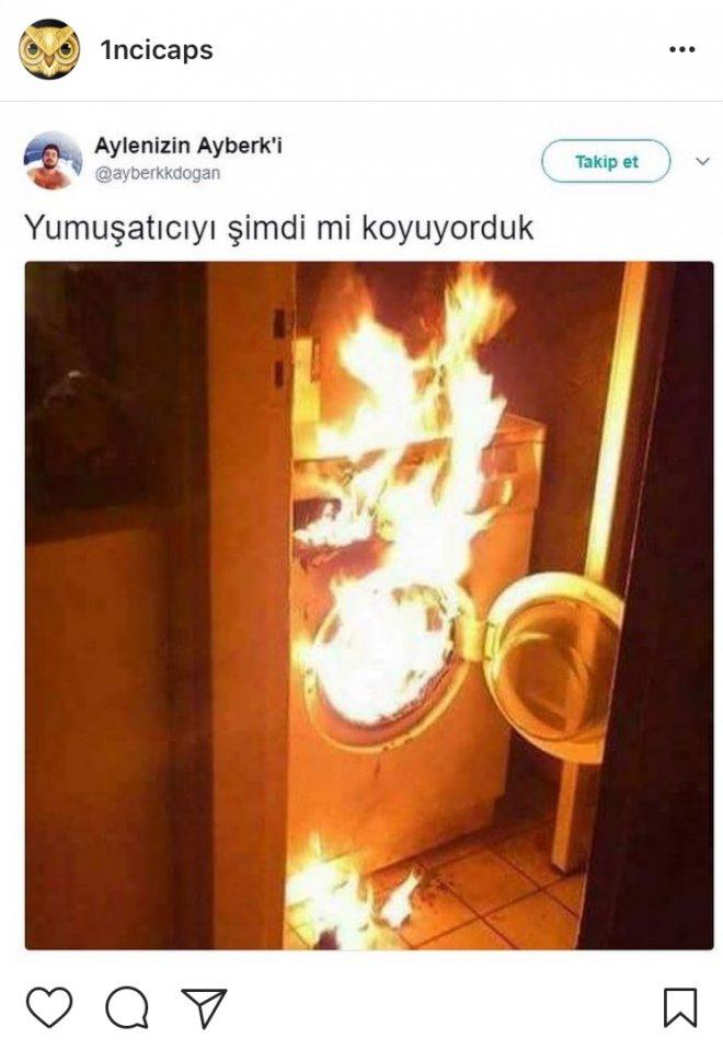 yanan çamaşır makinesi