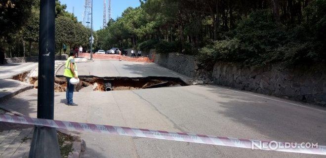 çamlıcada yol çöktü