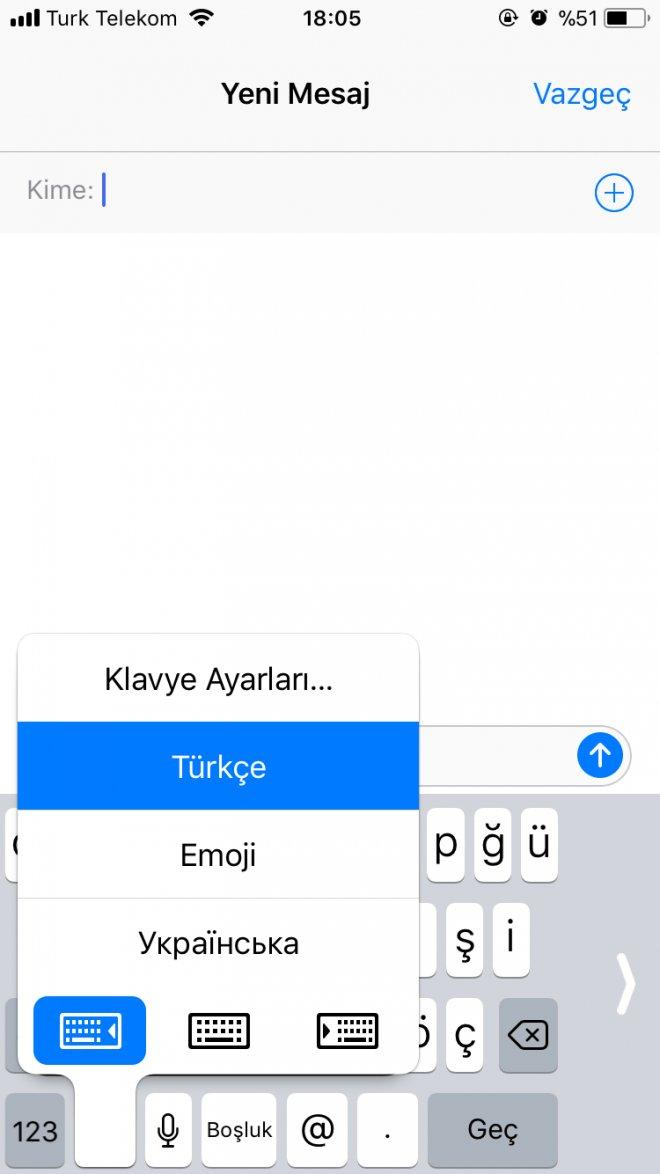 iphone ios11 klavye