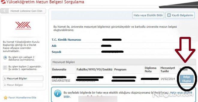 e devlet transkrip belgesi oluşturma
