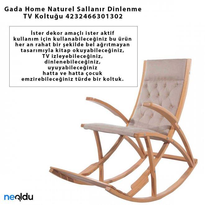 Gada Home Naturel Sallanır Dinlenme TV Koltuğu 4232466301302