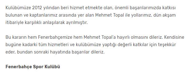 Fenerbahçe Mehmet Topal Açıklaması