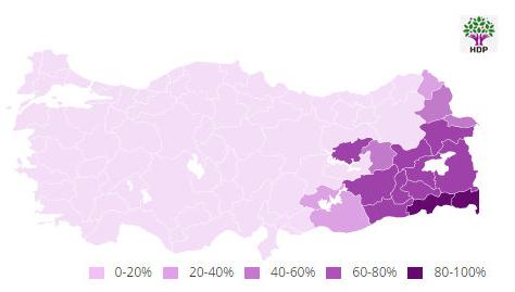 HDP'NİN EN ÇOK OY ALDIĞI İLLER HARİTASI