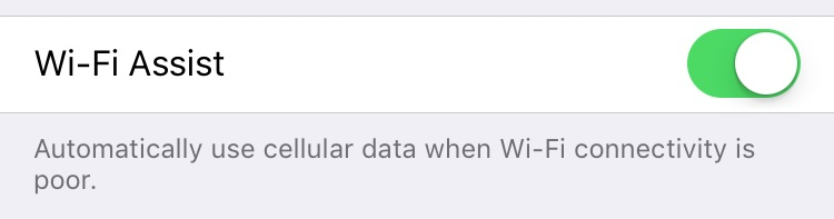iPhone iOS 9 Wi-Fi Asist