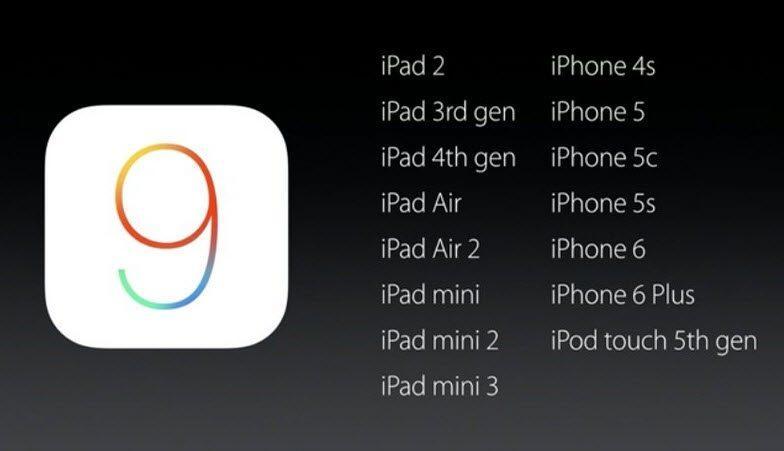 ios9 yüklenebilecek telefonlar
