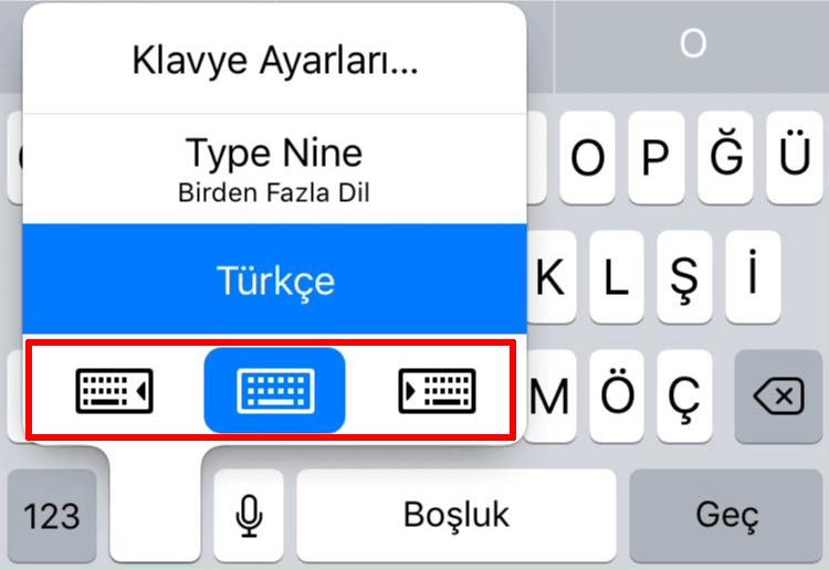 iphone tek klavye ekranı özelliği