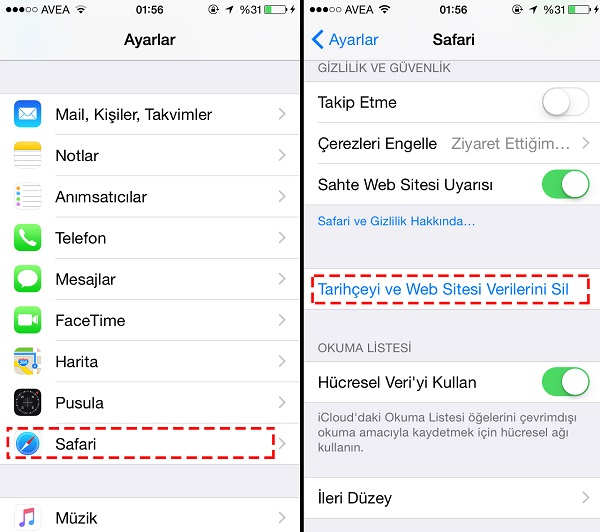 iphone 8 Plus safari geçmişi görme