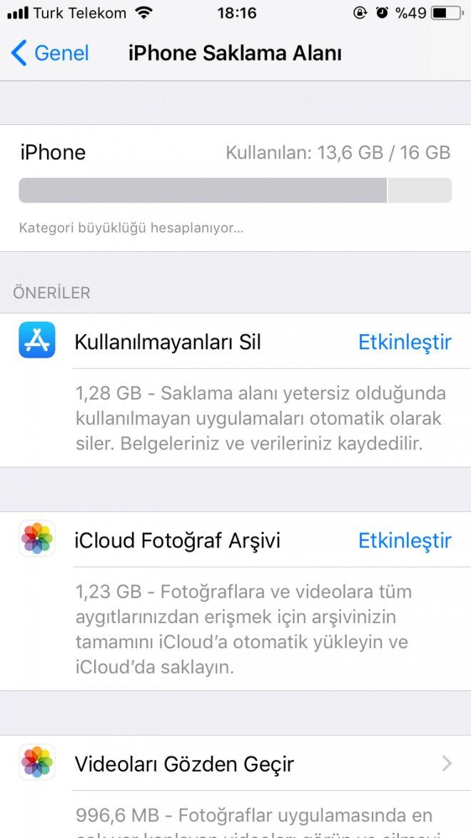 iphone ios11 saklama alanı