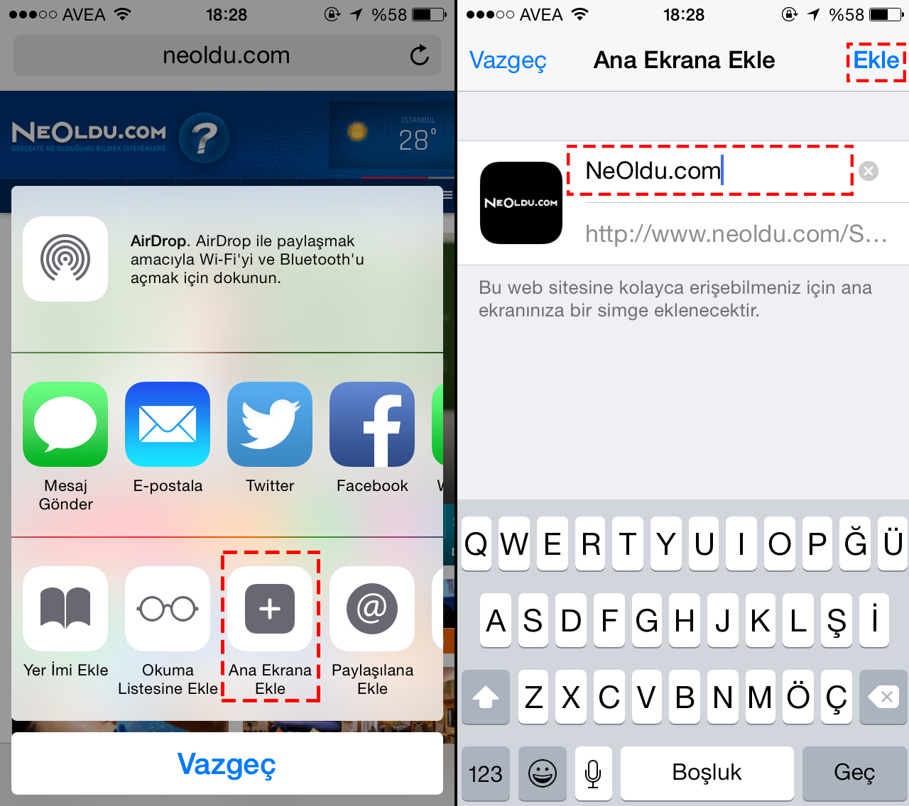 iPhone Web Sayfası Kısayolu Oluşturma