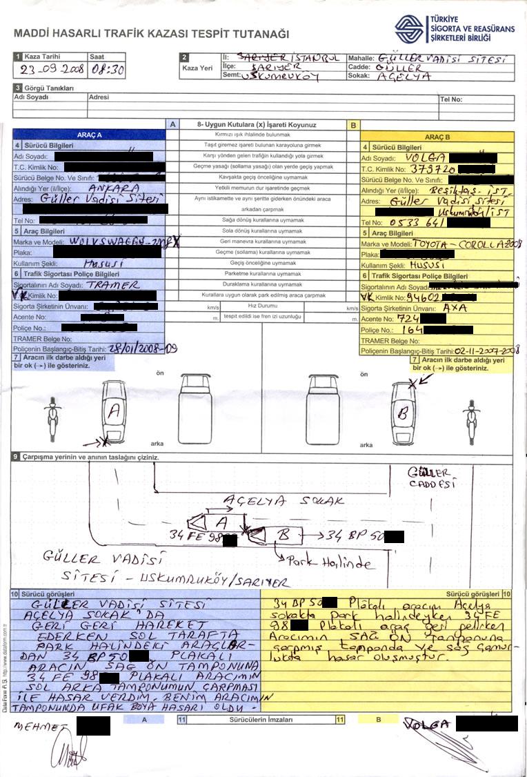 Kaza tespit tutanağı örneği