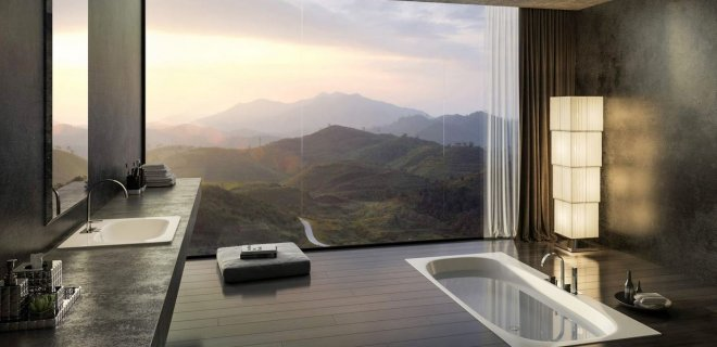 manzaralı banyo