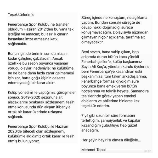 Mehmet Topal Ayrılık Açıklaması