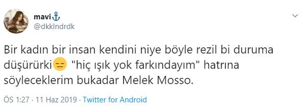 Melek Mosso Tepki Tweetleri
