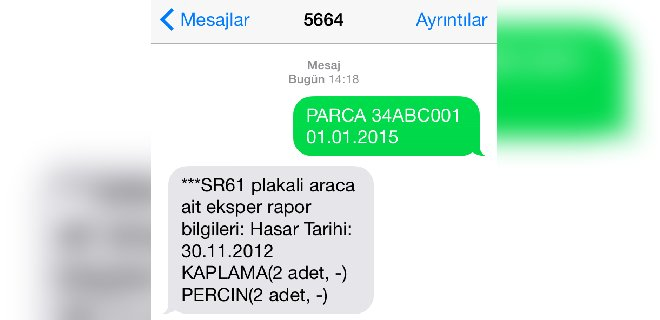 Mesaj-SMS ile Araç Plaka Sorgulama