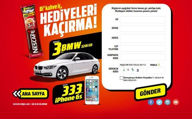 nescafe bmw ve iphone çekilişi