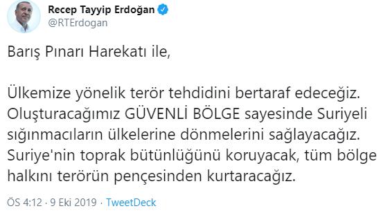 Recep Tayyip Erdoğan Barış Pınarı Tweet
