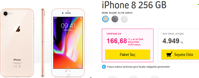 turkcell iphone 8 256 gb