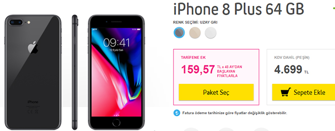 turkcell iphone 8 plus 64 gb