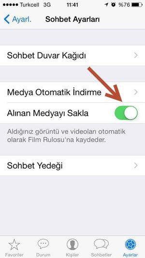 whatsapp alınan medyayı sakla